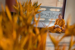 Buddhist monk sits in temple doorway reading. Royalty Free Stock Photography