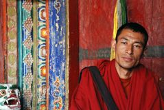 Buddhist Monk at Hemis Monastry Royalty Free Stock Images