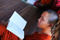 Buddhist monk studying Pali in a monastery Stock Image