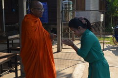 Buddhist monk and teacher Royalty Free Stock Image