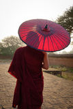 A Buddhist monk at the temple in Bagan, Myanmar stock photos