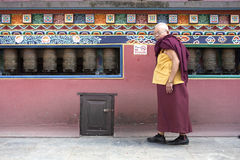 A Buddhist monk at a temple Royalty Free Stock Image