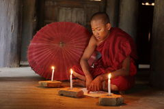 Buddhist monk in the temples of Bagan Royalty Free Stock Photos