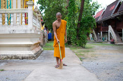Buddhist monk, Thai monk Sweep temple. Stock Photo