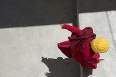 Buddhist monk in traditional robe at tibetan monastery in Leh La Royalty Free Stock Photos