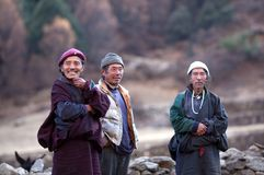 Buddhist monk and two gorkhas peasant Stock Photography