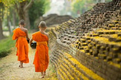 Buddhist Monk walking for receive food Stock Images
