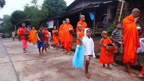 Buddhist monk walks in the morning stock video footage