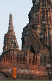 Buddhist monk at Wat Chai  Wattanaram, Ayutthaya, Thailand. Stock Photography