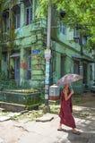 Buddhist monk in yangon myanmar Stock Photos