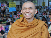 Buddhist Monk at a Yellow-Shirt Rally Royalty Free Stock Photography