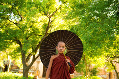 Buddhist monk. Young Buddhist monk walking outdoors under shade of green tree with umbrella, outside monastery, Myanmar stock photo
