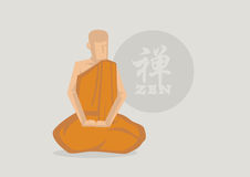 Buddhist Monk Zen Meditation Vector Illustration Royalty Free Stock Photo