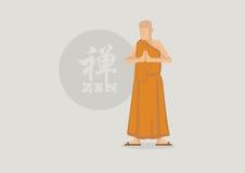 Buddhist Monk and Zen Symbol Vector Illustration Stock Photo