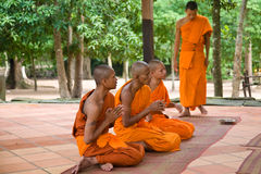 Buddhist monks. Five praying buddhist monks outside in the forest of Cambodia Stock Photos