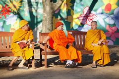 Buddhist Monks. Canberra, Australia-September 20: Group of Buddhist Monks photographed at the annual Floriade festival in Canberra, ACT, Australia. Buddhism is a Stock Photos