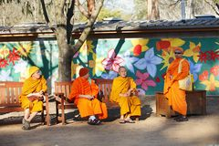 Buddhist Monks. Canberra, Australia-September 20: Group of Buddhist Monks photographed at the annual Floriade festival in Canberra, ACT, Australia. Buddhism is a Stock Photo
