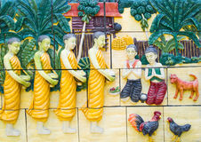 Buddhist monks alms. pattern on the wall in the temple. Royalty Free Stock Photo