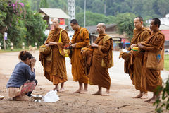 Buddhist monks alms in Thailand Stock Image