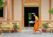 Buddhist monks at an ancient Khmer temple Royalty Free Stock Images