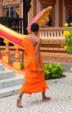 Buddhist monks at an ancient Khmer temple Stock Photo