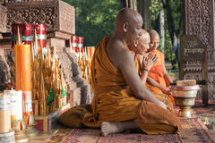 Buddhist Monks at Angkor Wat. Cambodia, Angkor Wat, Khmer Buddhist monks at a monastary near the Bayon, Angkor Thom Stock Photography
