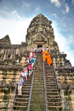 Buddhist monks in Angkor Wat. Cambodia. Royalty Free Stock Photography