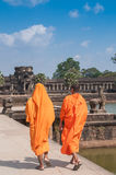 Buddhist monks, Angkor Wat, Cambodia royalty free stock images