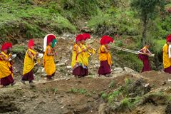 Free Buddhist Monks At Ceremony Celebration In Nepal Temple Stock Photography - 117163922