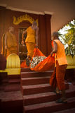 Buddhist monks and bones of Wat Thmei, Siem Reap, Cambodia Royalty Free Stock Photography