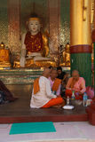 Buddhist monks breakfast Royalty Free Stock Image