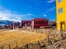 Buddhist monks building in Yarchen Gar Monastery Stock Photo
