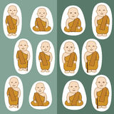 Buddhist Monks cartoon Stock Image