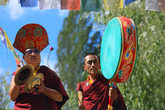 Buddhist monks on ceremony Royalty Free Stock Images