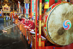 Buddhist monks at the ceremony in the temple Stock Image