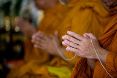 Buddhist monks chanting. With sacred thread Royalty Free Stock Photo