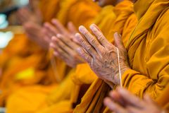 Buddhist monks chanting Stock Photography