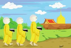 Buddhist monks collecting alms. Royalty Free Stock Photos