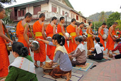 Buddhist monks collecting alms. In Luang Prabang, Laos Royalty Free Stock Photo