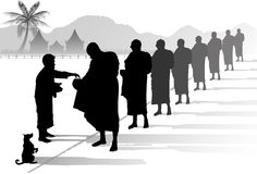 Buddhist monks collecting alms. In rural Thailand illustration Stock Images
