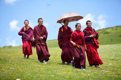 Buddhist monks in grass covered hills Stock Image