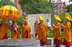Buddhist monks hold a ritual in the Peace Gardens Royalty Free Stock Image