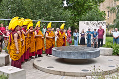 Buddhist monks hold a ritual in the Peace Gardens Stock Photos