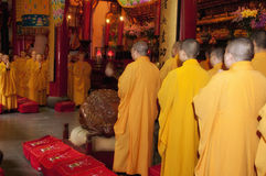 Buddhist Monks at Jade Buddha Temple Royalty Free Stock Photography