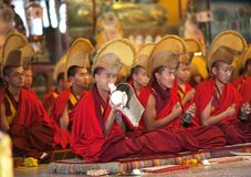 Buddhist monks and lamas during puja ceremony Royalty Free Stock Images