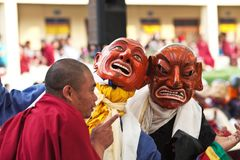 Buddhist monks and lamas during Tsam Mystery Stock Images