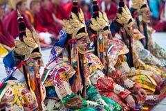 Buddhist monks and lamas during Tsam Mystery Royalty Free Stock Image