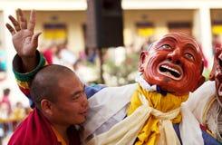 Buddhist monks and lamas during Tsam Mystery Stock Image