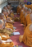 Buddhist Monks at the Mahabodhi Temple Royalty Free Stock Photo