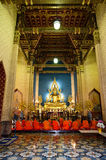 Buddhist Monks at Marble Temple Royalty Free Stock Photos